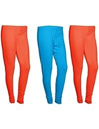 Indistar Women Cotton Legging Comfortable Stylish Churidar Full Length Women Leggings-Red/Sky Blue-Free Size-Pack...