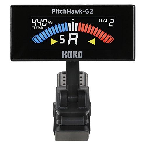 KORG コルグ カラー液晶ディスプレイ採用 ギター/ベース用クリップ型チューナー PitchHawk-G2 ブラック