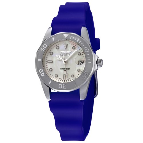 Invicta Women's 0002-ISRUBL Pro Diver Collection Stainless Steel Blue Rubber Watch