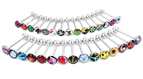 Logo Barbell Tongue Ring Lot of 30 Piercing 14 Gauge (Logo Tongue Rings compare prices)