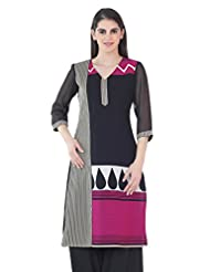 Fashion205 Black And Fawn Printed Georgette Long Kurti - B00X3HMGAY