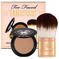 TOO FACED Tan Without the Twinkle - Chocolate Soleil Bronzer & Flatbuki Brush