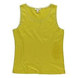 Jm Collection Womens Solid Lace Tank Top