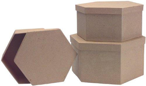 Paper Mache Heart Box Set - 8.5'', 7.5'' And 6.75