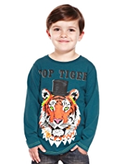 Pure Cotton Top Hat Tiger T-Shirt