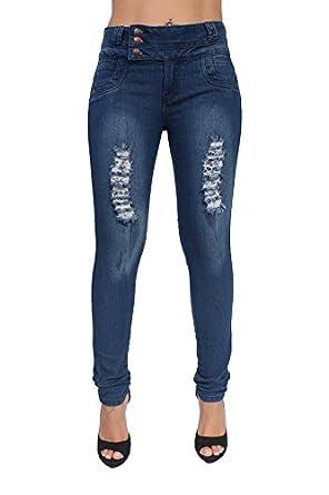 Brazilian Butt Lift Colombian Style Ripped Skinny Jeans By Crocker CR-M772BLU (0)