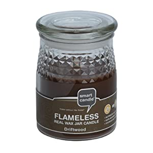 Smart Candle Flameless Wax Filled Jar Candle with Driftwood Scent