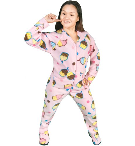 PajamaCity Pink Cupcakes Print Fleece Drop Seat Onesie Footie Pajamas for Teens and Adults Size 5 (5'6