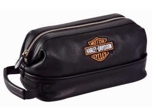 Harley-Davidson&#174; Leather Toiletry Shave Bag Dopp Kit. Travel Shaving Kit. Bar & Shield Logo. 11 X 4.5 X 5.5-Inches. 99609
