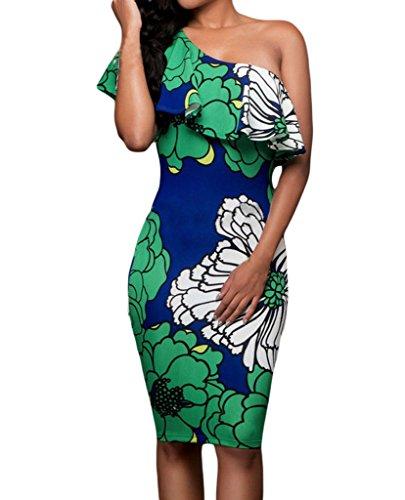 Shawhuwa Womens Sexy Floral Ruffle One Shoulder Bodycon Midi Dress L Green