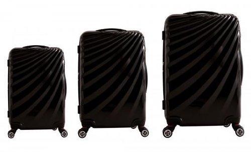 Trolley – Koffer – Set im außergewöhnlichen Design in Schwarz – XXL-Light – Polycarbonat – XXL-Light – 77/67/58cm – Dehnfalte – viel Volumen günstig
