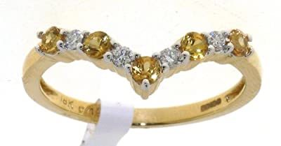 Romantic 18 ct Gold Ladies Half Eternity Diamond Ring Brilliant Cut 0.12 Carat with Yellow Sapphire