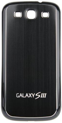 AVANTO PLATIC Backcover Akkudeckel / Akkufachdeckel mit gebürstetem Aluminium für Samsung Galaxy S3 / GT-I9300 / GT-I9305 LTE - schwarz / schwarz