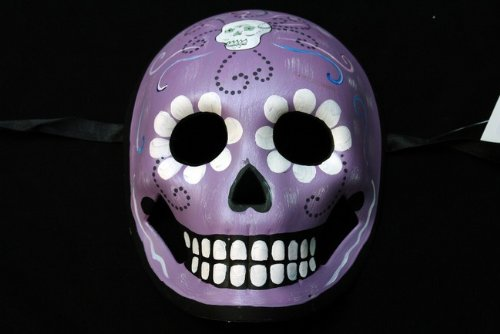 All Purple Mexican Sugar Skull Hand-Painted Paper Mache Mask