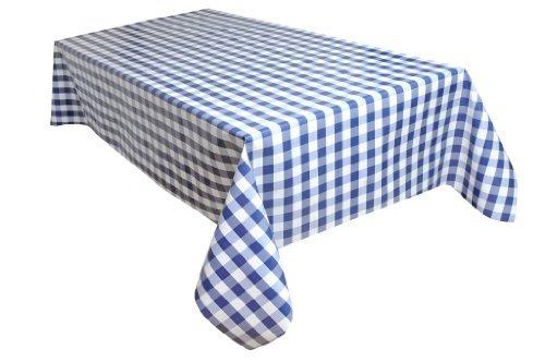 Wachstischdecke Gartentischdecke Abwaschbar nach Wunschmaß KARO BREIT 2 BLAU-WEISS ( 190-03 ) – 1500 x 140 cm