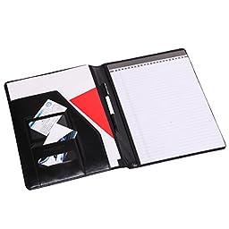 Leather File Folder Padfolio Writing Pad Leather Business Presentation Folder Portfolio (Black-A4-4)