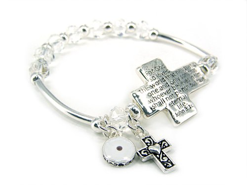 4030267 Religious Christian Bible Cross Jewelry Bracelet John 3:16