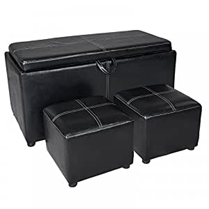 New Black Leather Ottoman With Tray Tops Storage Bench Coffee Table Leather S26