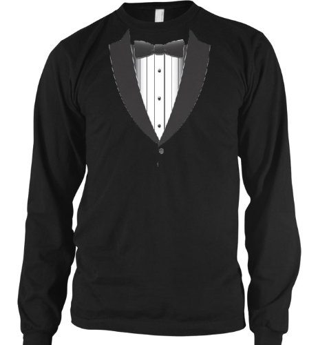 Formal Black Tie Tuxedo Mens Thermal Shirt, Funny Trendy Gag Fake Tux Bow Tie Mens Long Sleeve Thermal Shirt