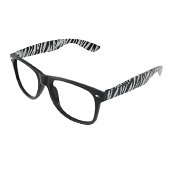 Zebra Eyeglass Frames : Amazon.com: Ladies Black White Zebra Print Arm Plastic ...