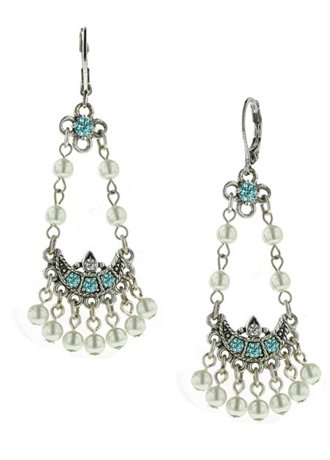 David's Bridal Vintage Pearl Chandelier Earrings Style 25880, Aqua