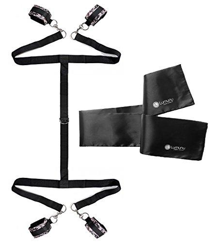 Deluxe Bettfesseln Set Liebesschnüre mit Spitzenverzierung inkl Satin Fesselmaske, extra robuster Augenschal für Bondage Liebhaber