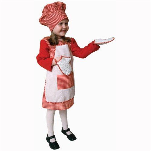 Red Gingham Girl Chef Costume Set - Medium 8-10