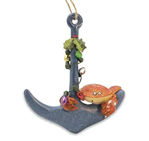 #!Cheap Nautical Crab on Anchor Holiday Christmas Ornament