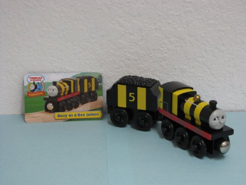 New 'Busy As a Bee James' Thomas & Friends Wooden Train Engine Loose Item Includes Exclusive Collector Card Retired Item.