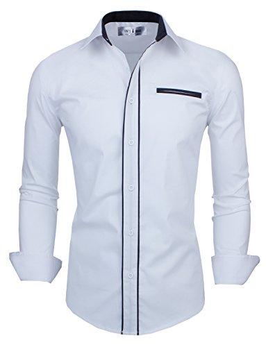 Tom'S Ware Mens Classic Slim Fit Contrast Trim Longsleeve Shirt Twnms310-1-Cms03-White-Us M