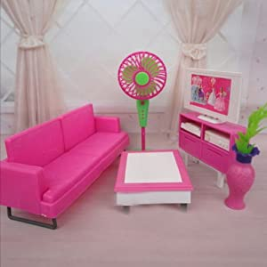 Barbie doll house furniture living room kit sofa tv - Barbie living room dress up games ...