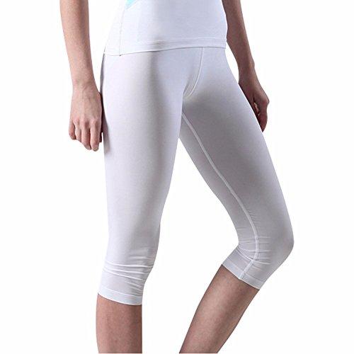 Compressione Leggings Leggings per le donne ragazze Capri Cropped Base Layer CG White Small