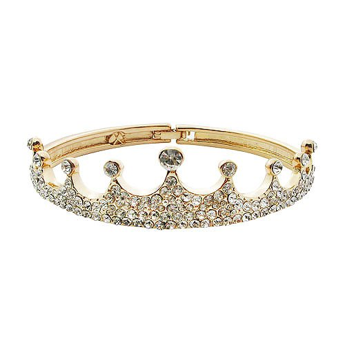 Hot Rhinestone Full-jeweled Crown Bangle Bracelets in Platinum Plated (Golden)