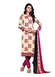 SayShopp Fashion Women's Unstitched Regular Wear Cotton Printed Salwar Suit Dress Material (ZDM-07_Cream,Pink_Free Size)