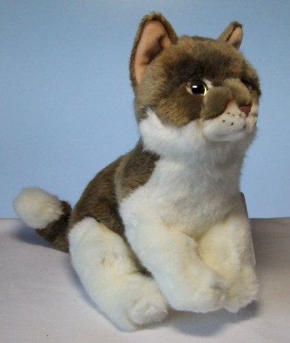 Katze Cat braun/weiß sitzend 26 cm Plüschkatze