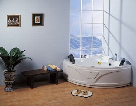 LineaAqua Albina 55 x 55 Jetted Whirlpool 2 Person Bathtub with Dual Headrests, Hand Shower, Bath Tub Filler