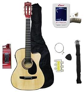 crescent 38 inch natural acoustic electric guitar starter kit cutaway style gig. Black Bedroom Furniture Sets. Home Design Ideas