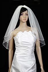 Bridal Wedding Classic Veil 2 Tiers Elbow Length White With Pencil Edge