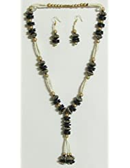 Black, Golden And White Bead Necklace With Earrings - Beads