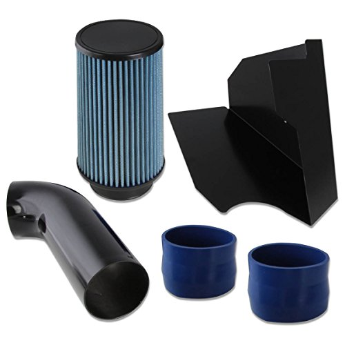 Chevy/GMC C/K Series GMT400 5.0/5.7L V8 Black Cold Air Intake Pipe+Heat Shield+Blue Filter