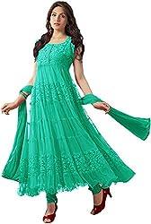 Rama Anarkali Semistitched Dress Material