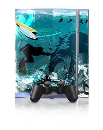 Hit The Waves Design Protector Skin Decal Sticker for PS3 Playstation 3 Body Console