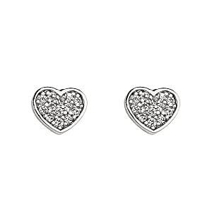14k White Gold Plated Sterling Silver Heart CZ Children Stud Earrings with Screw-back