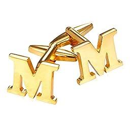 U7 Men\'s 18K Gold Plated Initial Cufflinks (Letter M)