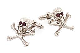 JJ Weston Red Crystal Eyes Skull Cufflinks. Made in the USA.