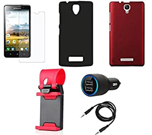 NIROSHA Tempered Glass Screen Guard Cover Car Charger Mobile Holder for Lenovo A2010 - Combo
