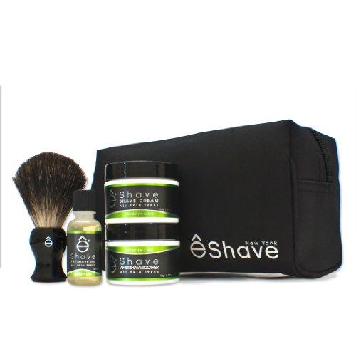 eShave Start Up Kit - Verbena Lime Pre-Shave Oil 1 oz, Shaving Cream and Brush