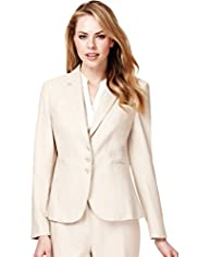Linen Blend Notch Lapel Seam Jacket