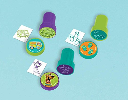 "Amscan Awesome Scooby-Doo Stampers Set Favor Pack Birthday Party Favor, 1 x 1-1/2"", Orange/Green/Teal/Purple"