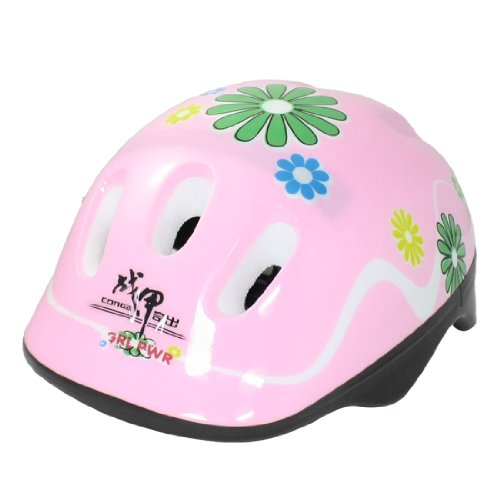 Como Flower Pattern Pink Cycling Skating Sports Safety Helmet Gift for Children